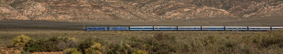 Blue Train travelling through Karoo