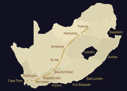 Blue Train Pretoria Cape Town Route Map